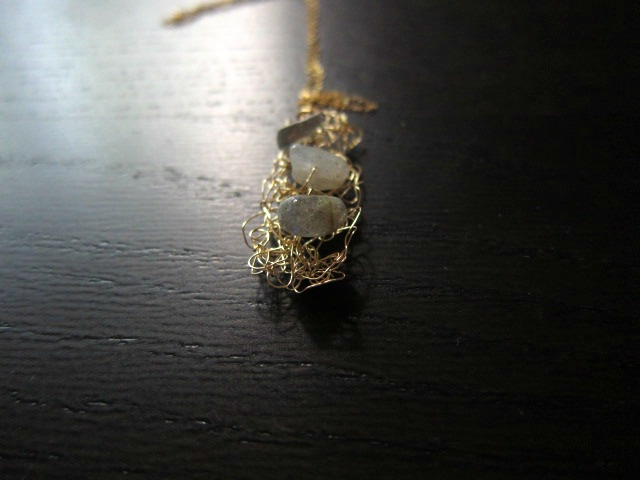 "Stepping Stones Necklace: knit wire with labradorites on a 16"" gold filled chain"