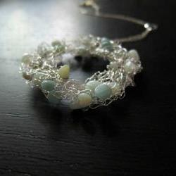 "Glacier Necklace: knitted wire and amazonite on a 16"" sterling silver chain"