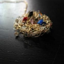 "Summer Necklace: knit wire with quartz pieces on a 24"" gold filled chain"