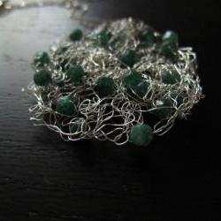 "Adventure Necklace: knit wire with aventurine on a 24"" sterling silver chain"